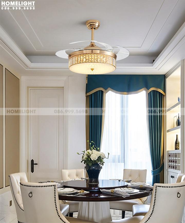 Chọn quạt trần có đèn trang trí cho phòng khách chung cư